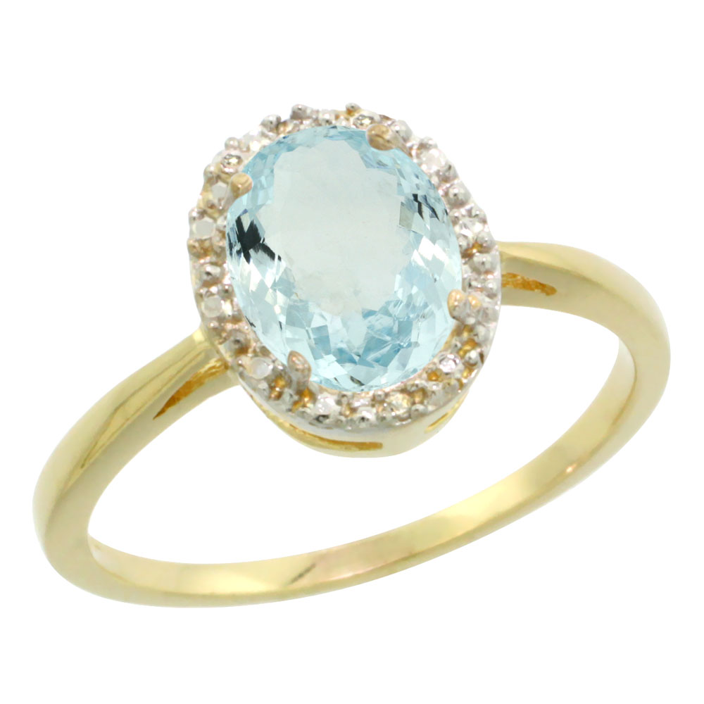 14K Yellow Gold Natural Aquamarine Diamond Halo Ring Oval 8X6mm, sizes 5-10