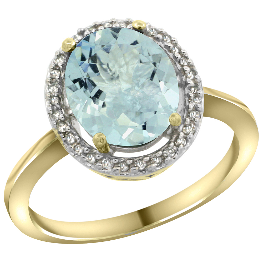 10K Yellow Gold Diamond Halo Natural Aquamarine Engagement Ring Oval 10x8 mm, sizes 5-10