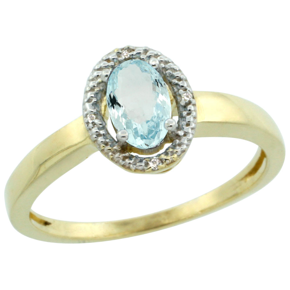 10K Yellow Gold Diamond Halo Natural Aquamarine Engagement Ring Oval 6X4 mm, sizes 5-10