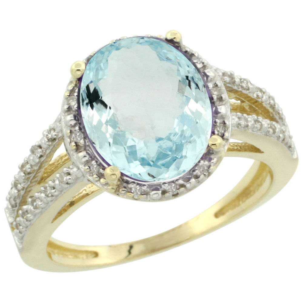 10K Yellow Gold Diamond Natural Aquamarine Ring Oval 11x9mm, sizes 5-10