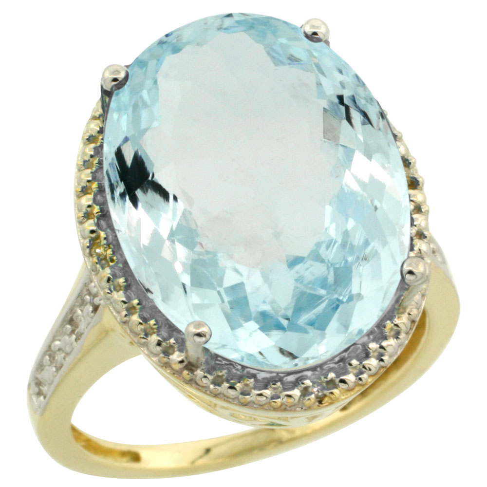 14K Yellow Gold Diamond Natural Aquamarine Ring Oval 18x13mm, sizes 5-10