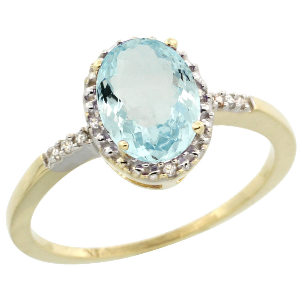 10K Yellow Gold Diamond Natural Aquamarine Ring Oval 8x6mm, sizes 5-10