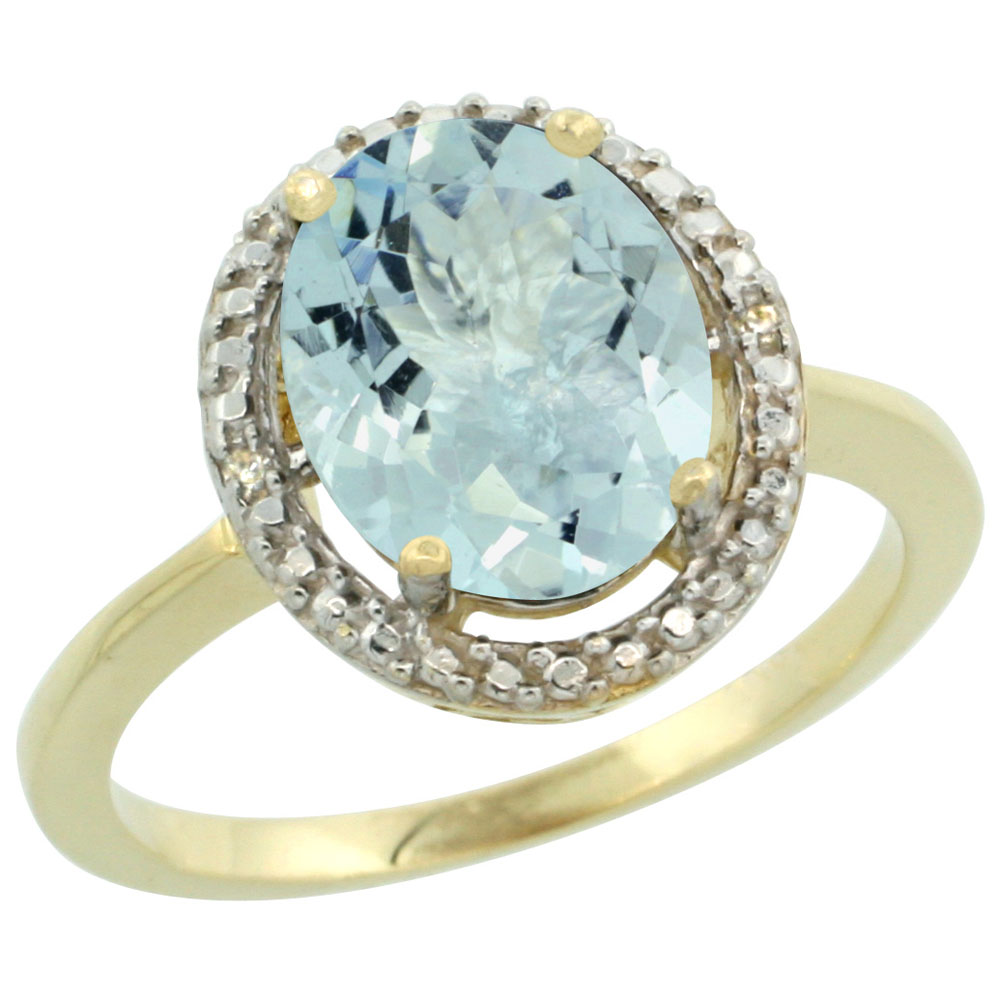 10K Yellow Gold Diamond Natural Aquamarine Engagement Ring Oval 10x8mm, sizes 5-10