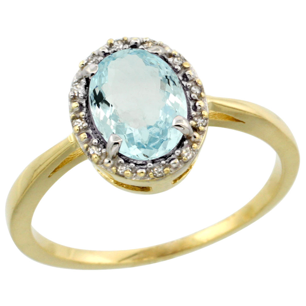 10k Yellow Gold Natural Aquamarine Ring Oval 8x6 mm Diamond Halo, sizes 5-10