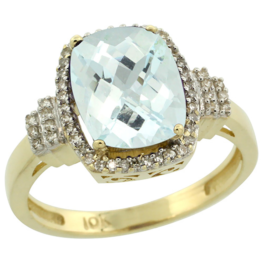 14K Yellow Gold Natural Aquamarine Ring Cushion-cut 9x7mm Diamond Halo, sizes 5-10