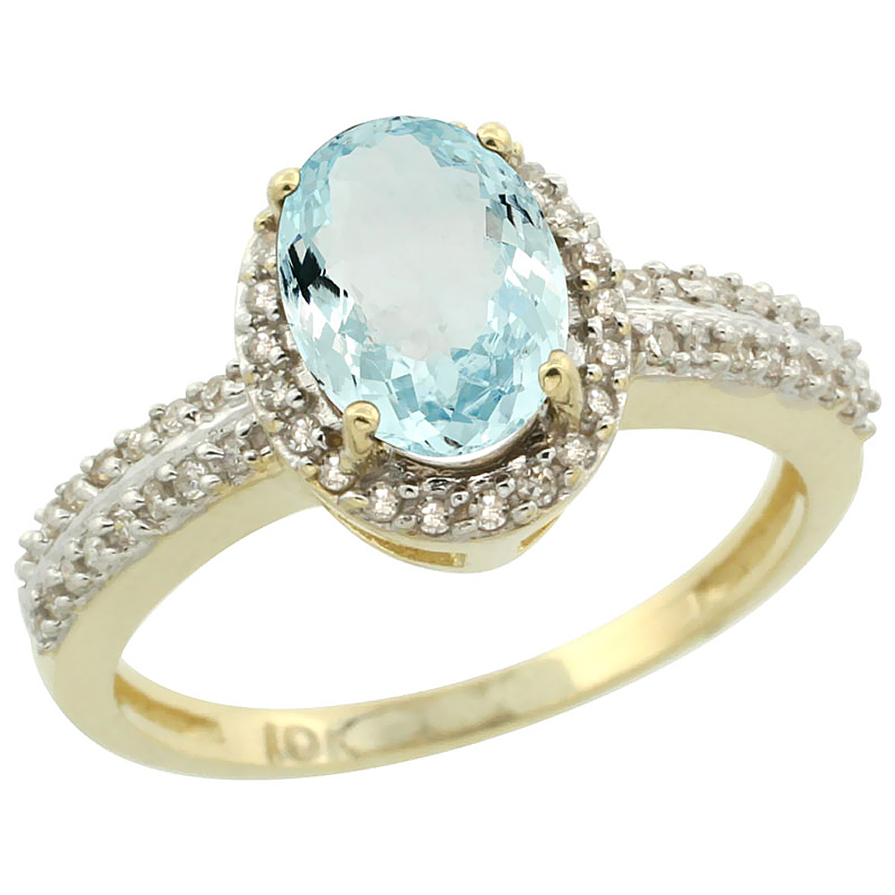 10k Yellow Gold Natural Aquamarine Ring Oval 8x6mm Diamond Halo, sizes 5-10
