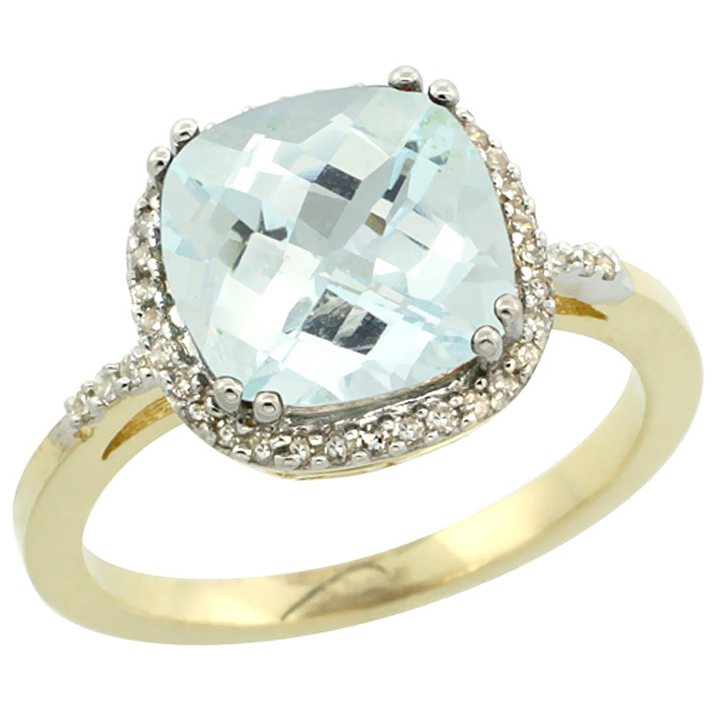 10K Yellow Gold Diamond Natural Aquamarine Ring Cushion-cut 9x9mm, sizes 5-10
