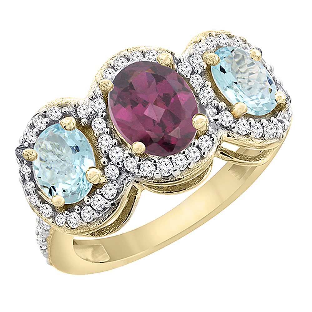 14K Yellow Gold Natural Rhodolite & Aquamarine 3-Stone Ring Oval Diamond Accent, sizes 5 - 10