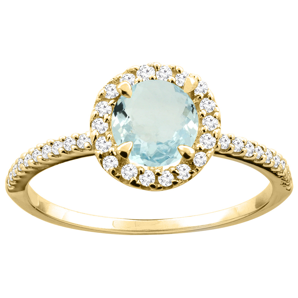 14K Gold Natural Aquamarine Ring Round 6mm Diamond Accents, sizes 5 - 10