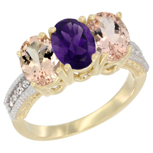 10K Yellow Gold Natural Amethyst & Morganite Ring 3-Stone Oval 7x5 mm, sizes 5 - 10