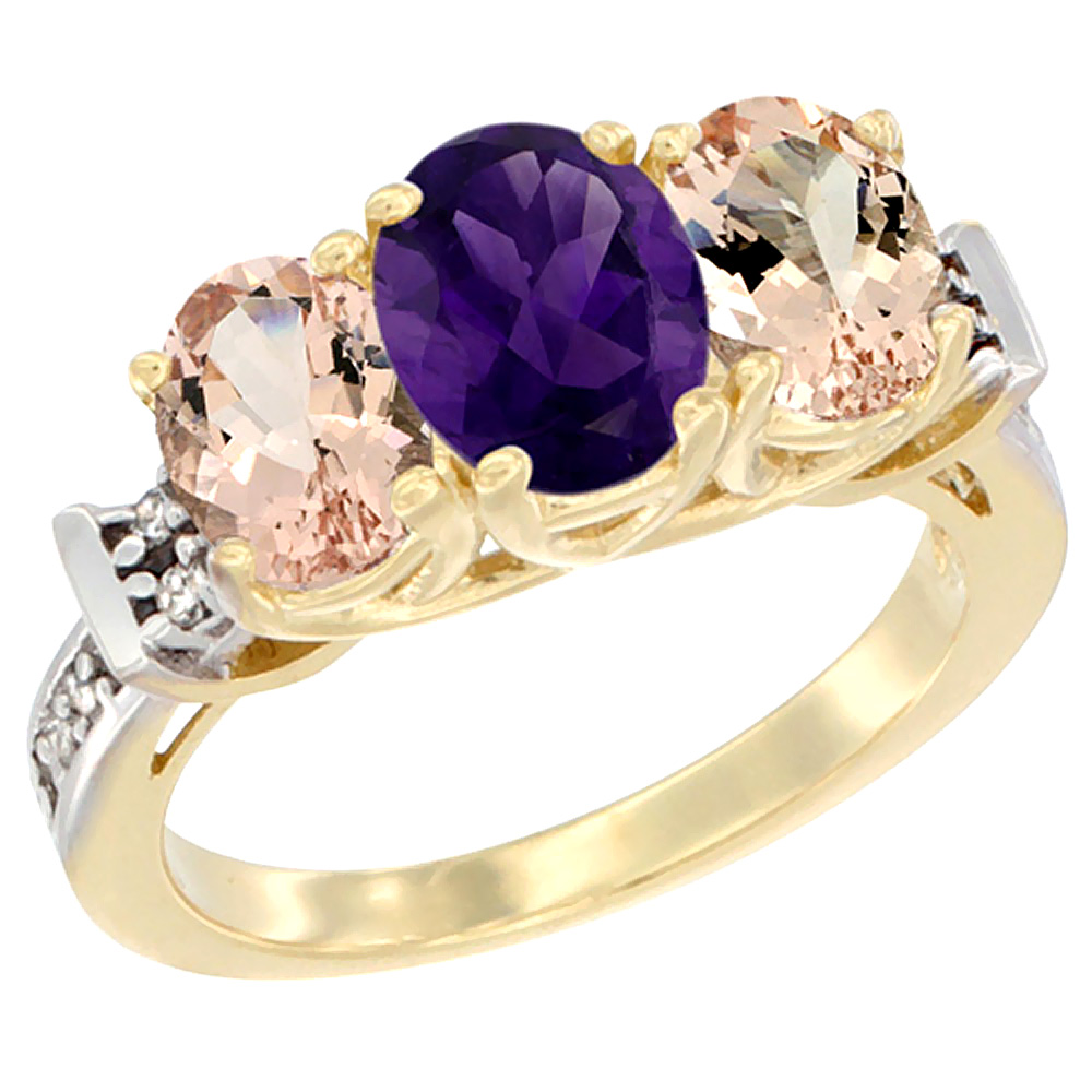 10K Yellow Gold Natural Amethyst & Morganite Sides Ring 3-Stone Oval Diamond Accent, sizes 5 - 10