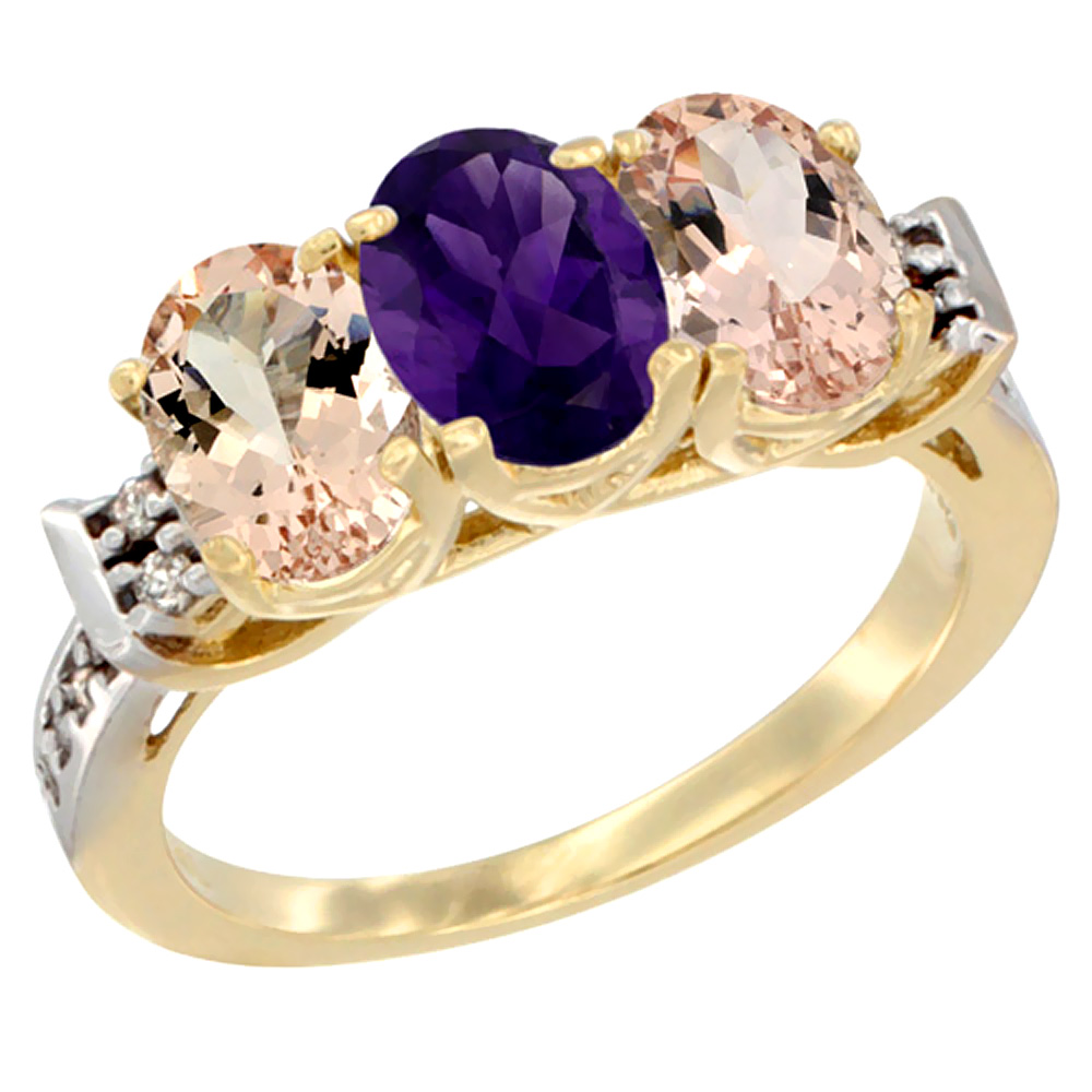 10K Yellow Gold Natural Amethyst & Morganite Sides Ring 3-Stone Oval 7x5 mm Diamond Accent, sizes 5 - 10
