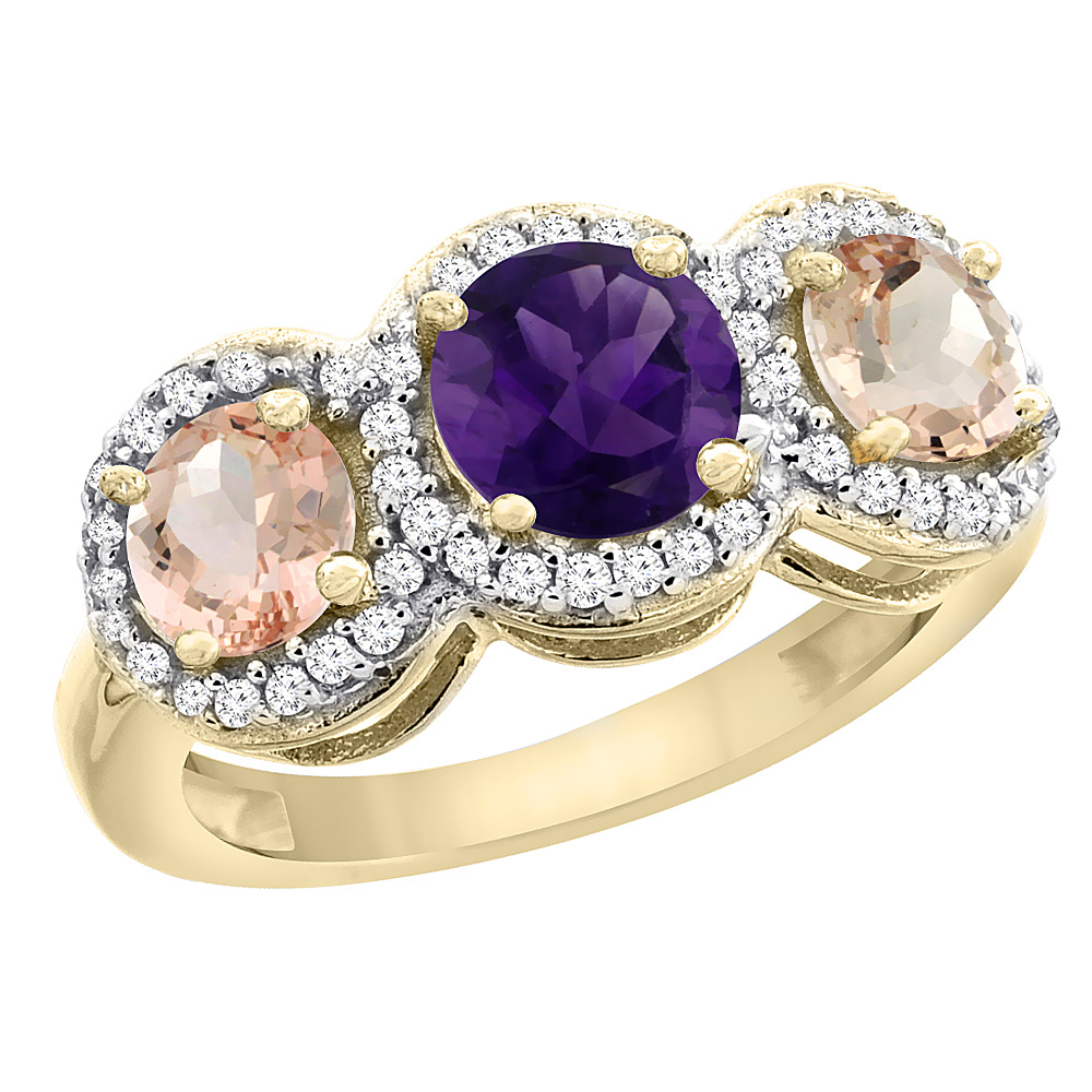 10K Yellow Gold Natural Amethyst & Morganite Sides Round 3-stone Ring Diamond Accents, sizes 5 - 10