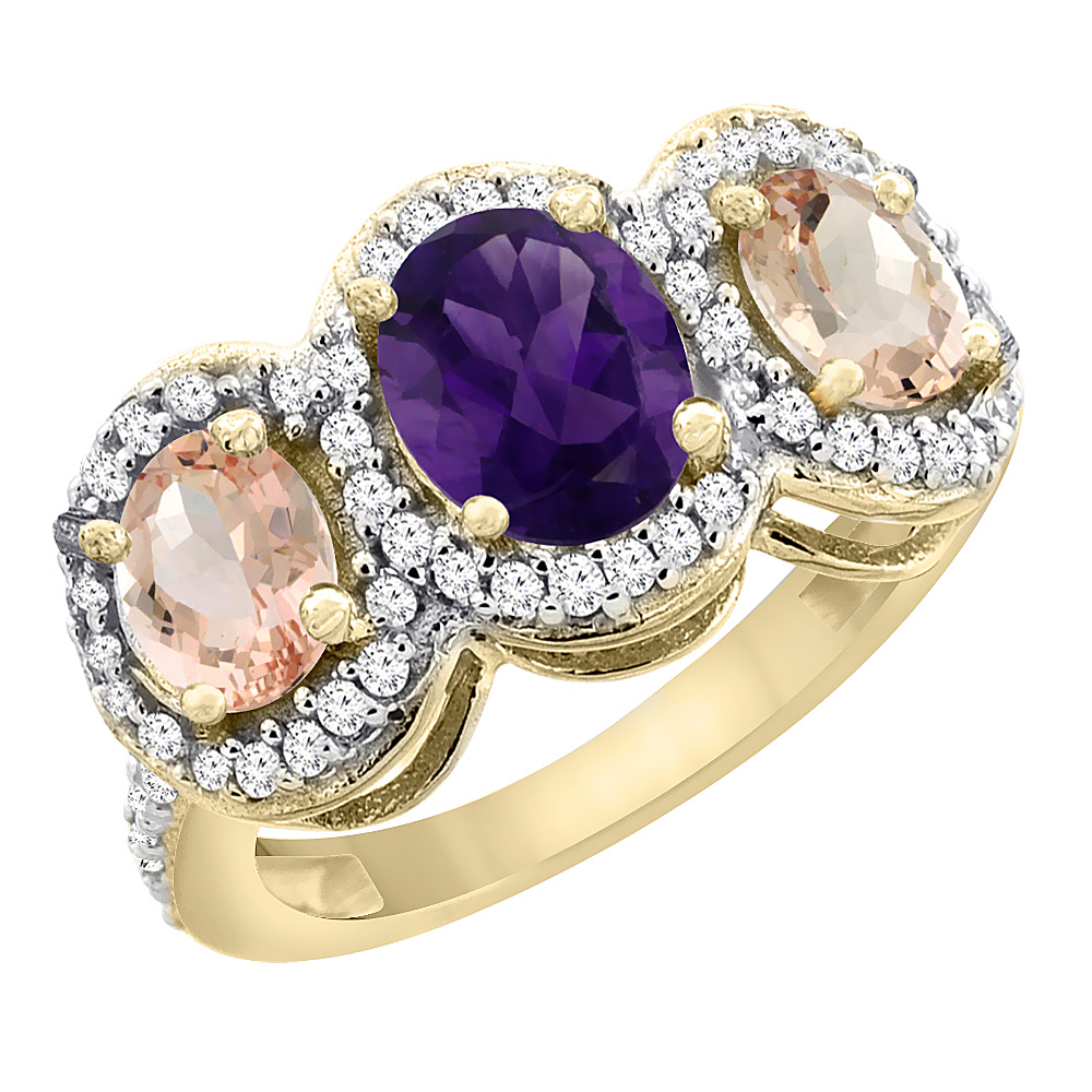 10K Yellow Gold Natural Amethyst & Morganite 3-Stone Ring Oval Diamond Accent, sizes 5 - 10