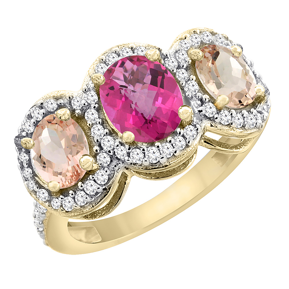10K Yellow Gold Natural Pink Topaz & Morganite 3-Stone Ring Oval Diamond Accent, sizes 5 - 10