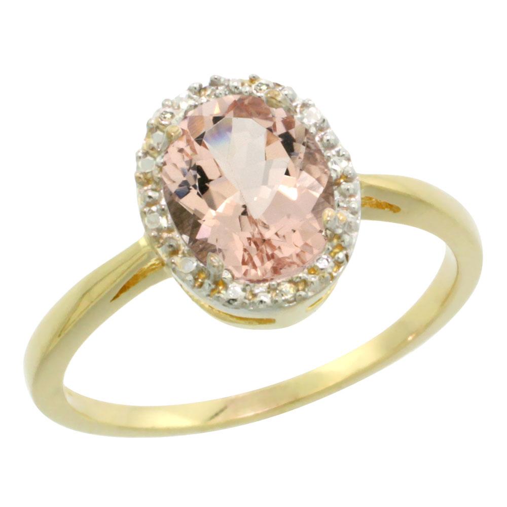 10K Yellow Gold Natural Morganite Diamond Halo Ring Oval 8X6mm, sizes 5-10
