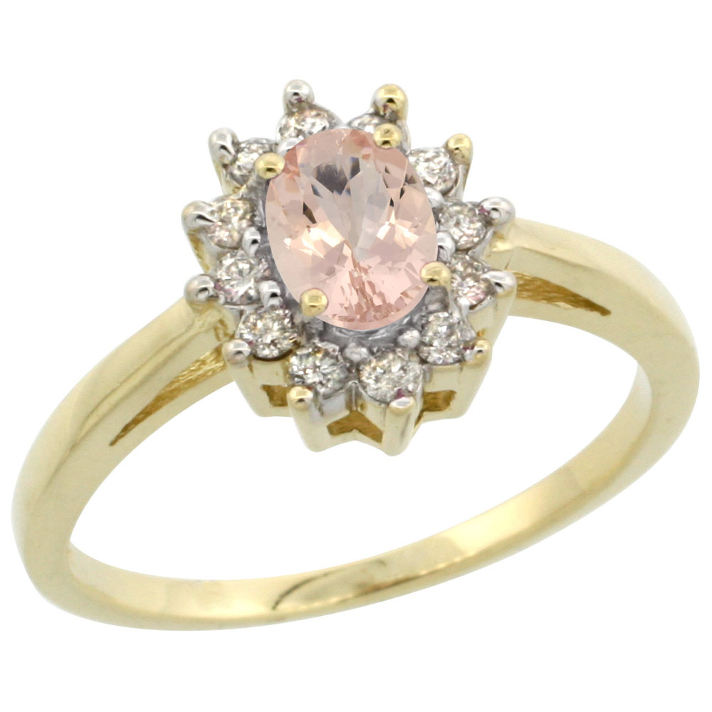 10K Yellow Gold Natural Morganite Flower Diamond Halo Ring Oval 6x4 mm, sizes 5 10