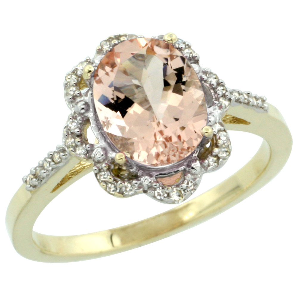 10K Yellow Gold Diamond Halo Natural Morganite Engagement Ring Oval 9x7mm, sizes 5-10