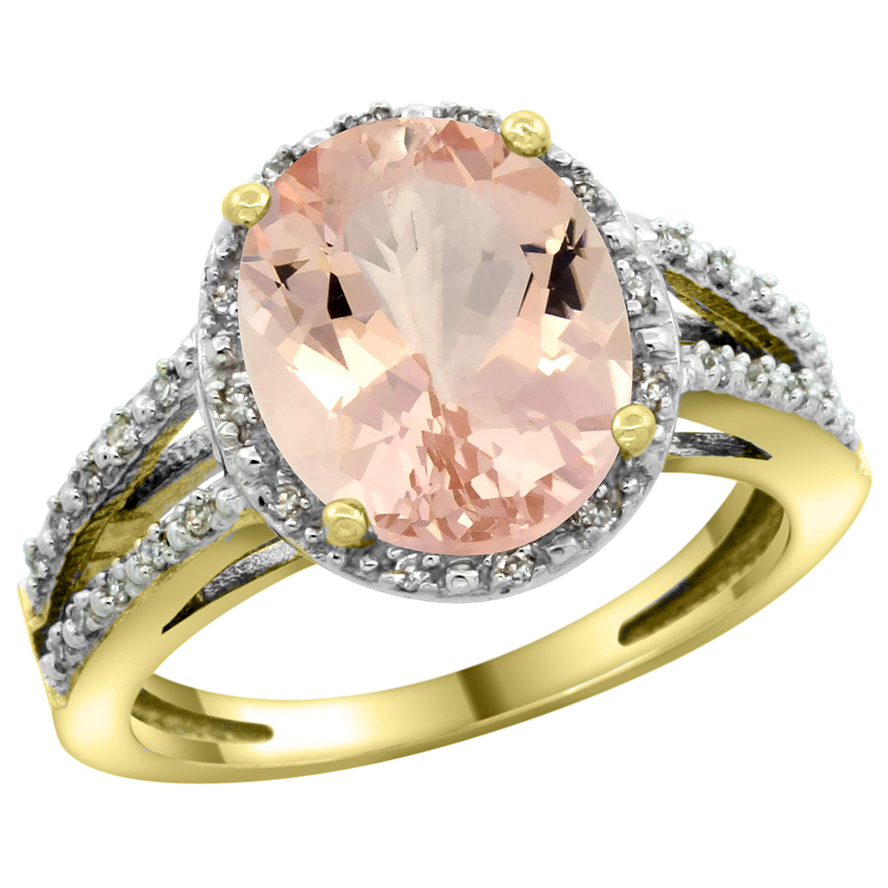 14K Yellow Gold Natural Morganite Diamond Halo Ring Oval 11x9mm, sizes 5-10