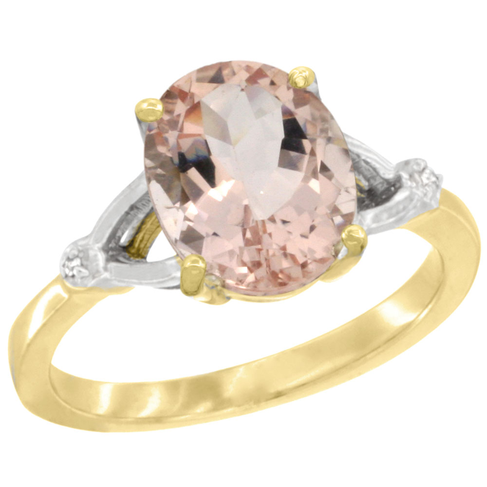 10K Yellow Gold Diamond Natural Morganite Engagement Ring Oval 10x8mm, sizes 5-10