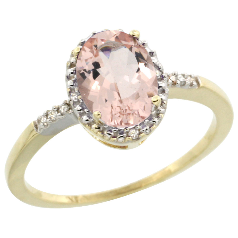 14K Yellow Gold Diamond Natural Morganite Ring Oval 8x6mm, sizes 5-10