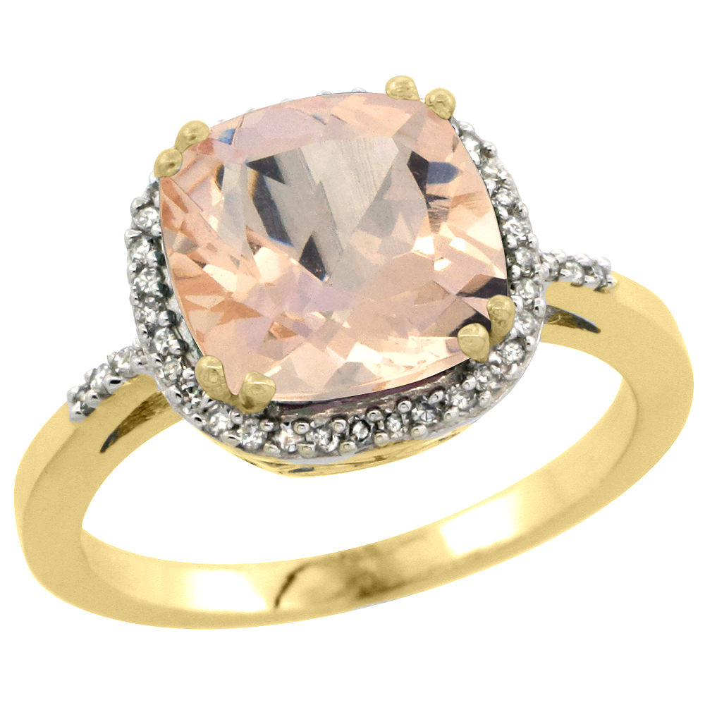 14K Yellow Gold Diamond Natural Morganite Ring Cushion-cut 9x9mm, sizes 5-10