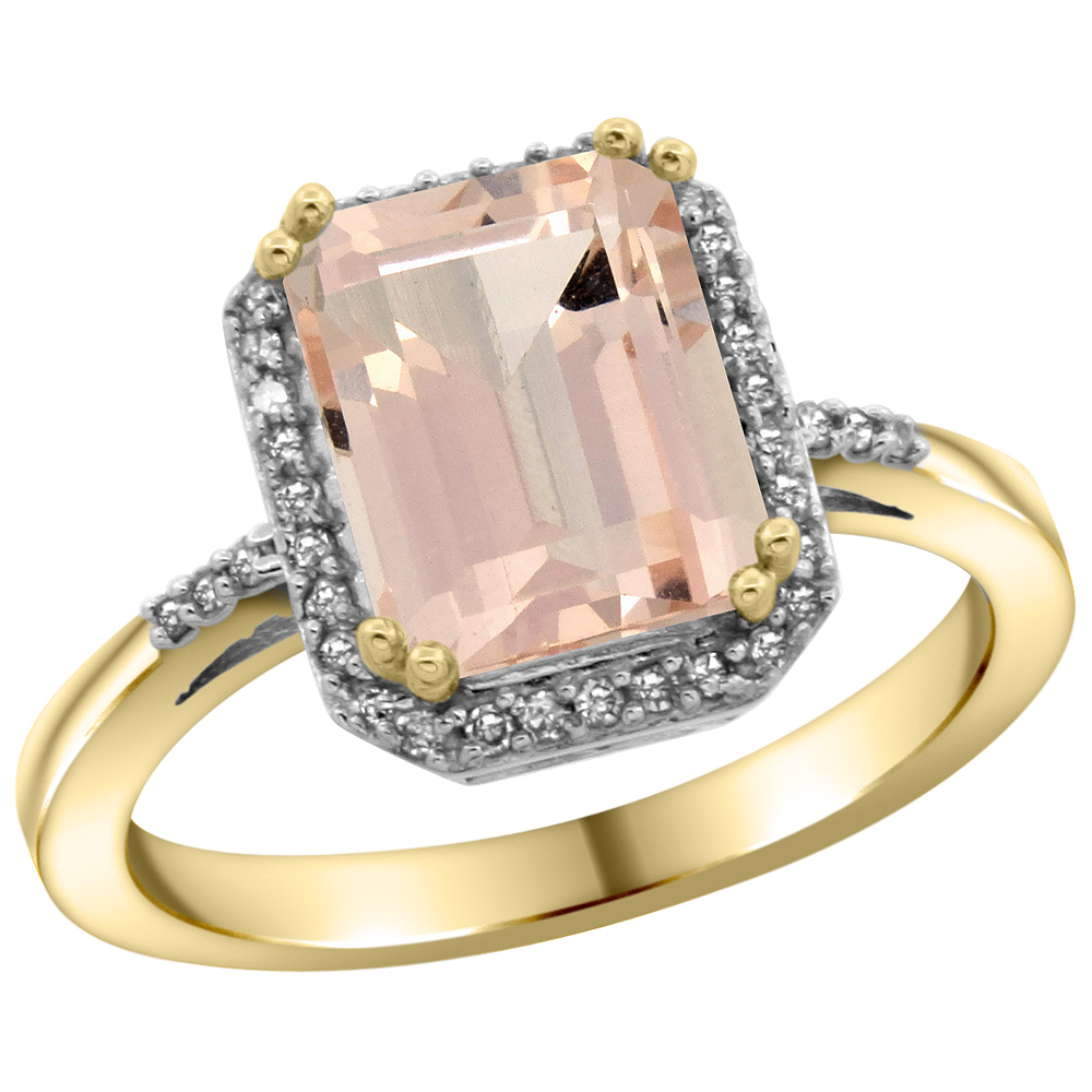 10K Yellow Gold Diamond Natural Morganite Ring Emerald-cut 9x7mm, sizes 5-10