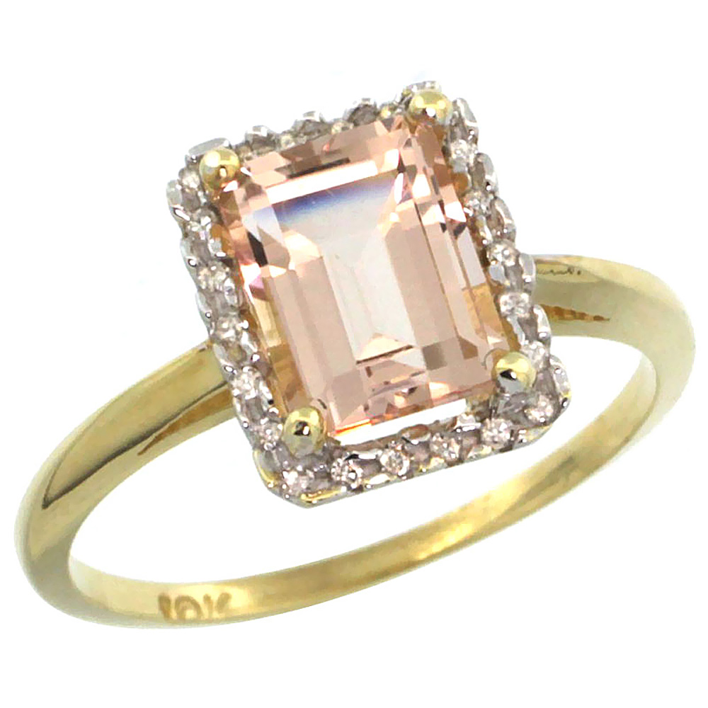14K Yellow Gold Diamond Natural Morganite Ring Emerald-cut 8x6mm, sizes 5-10