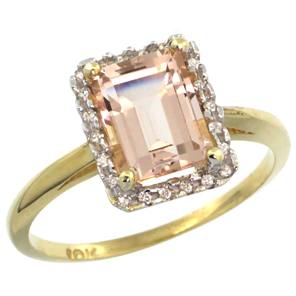 10K Yellow Gold Diamond Natural Morganite Ring Emerald-cut 8x6mm, sizes 5-10