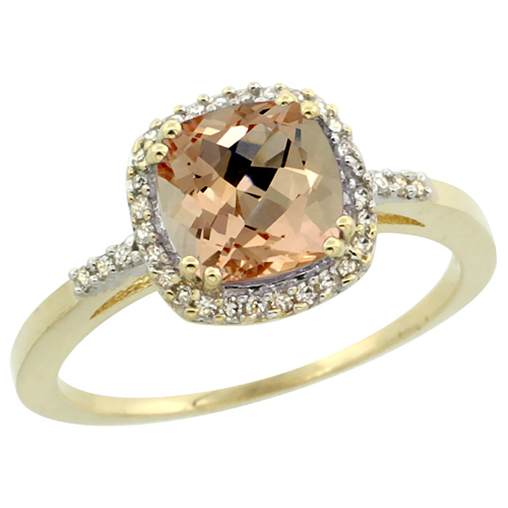 14K Yellow Gold Natural Diamond Morganite Ring Cushion-cut 7x7mm, sizes 5-10