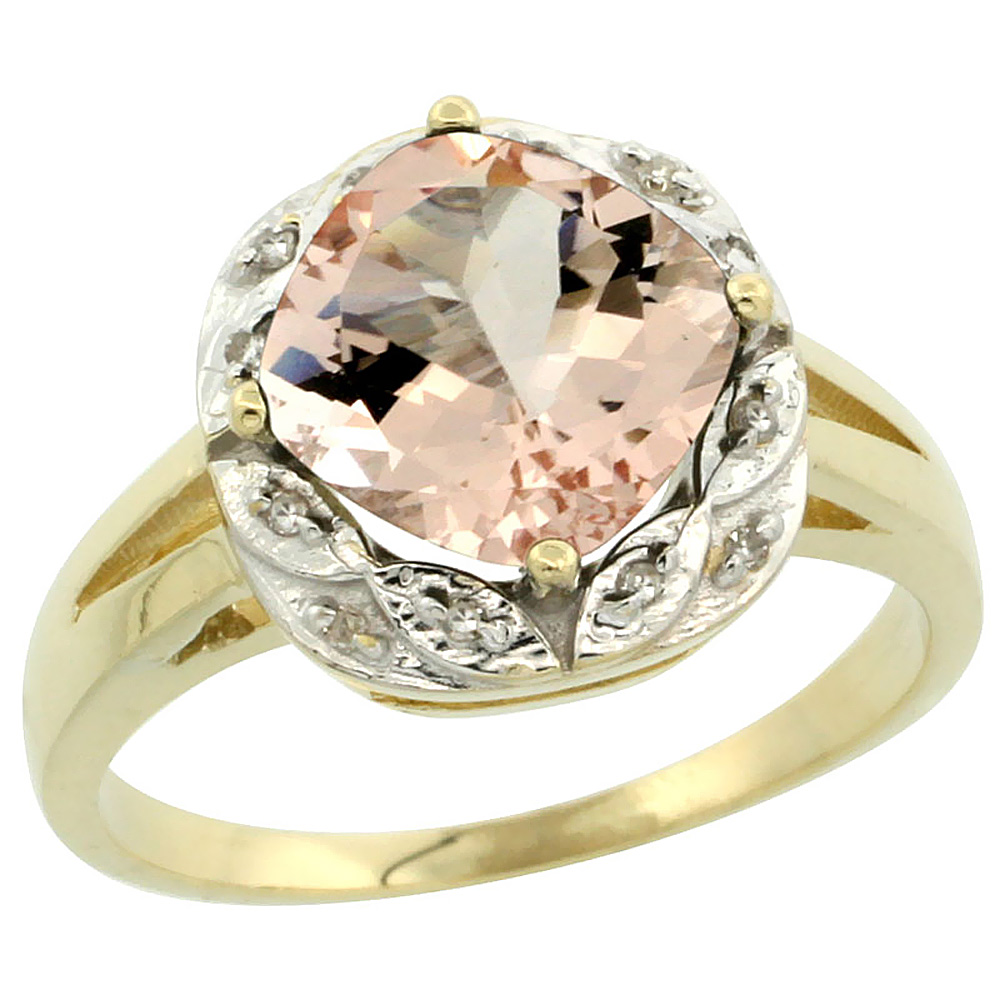 14K Yellow Gold Natural Morganite Ring Cushion-cut 8x8mm Diamond Halo, sizes 5-10