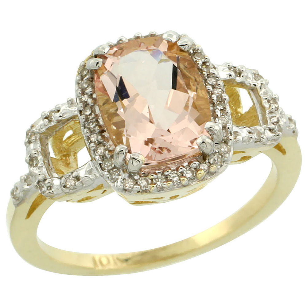 14K Yellow Gold Natural Diamond Morganite Ring Cushion-cut 9x7mm, sizes 5-10