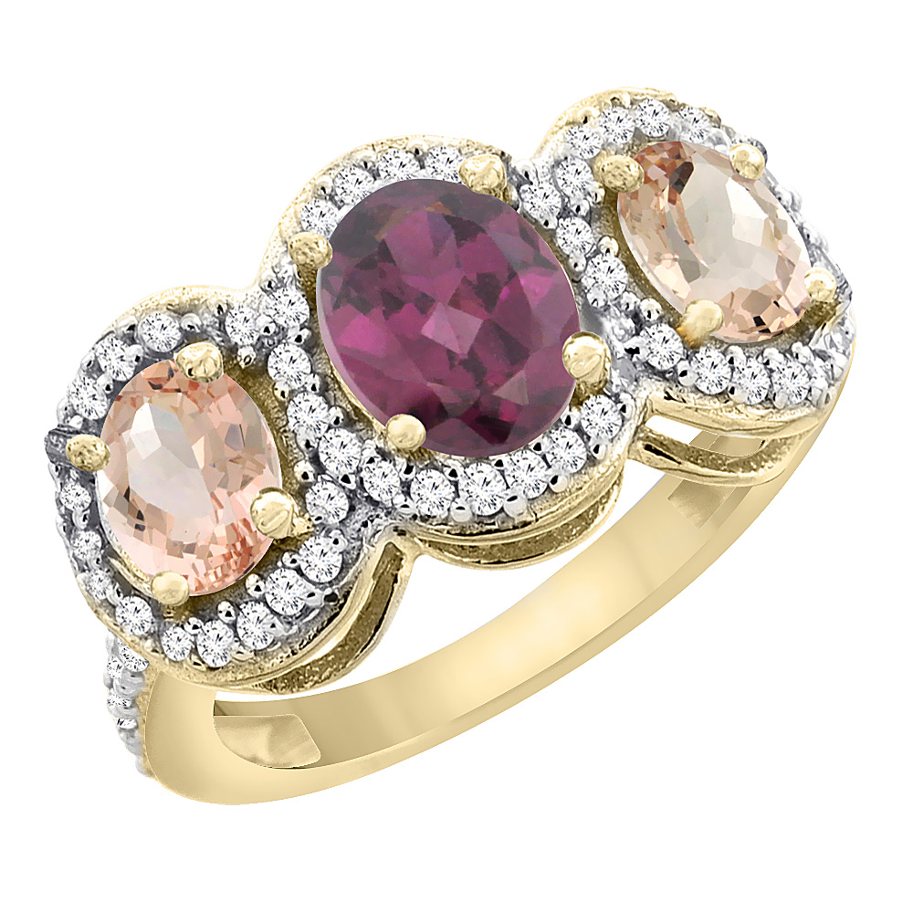 14K Yellow Gold Natural Rhodolite & Morganite 3-Stone Ring Oval Diamond Accent, sizes 5 - 10