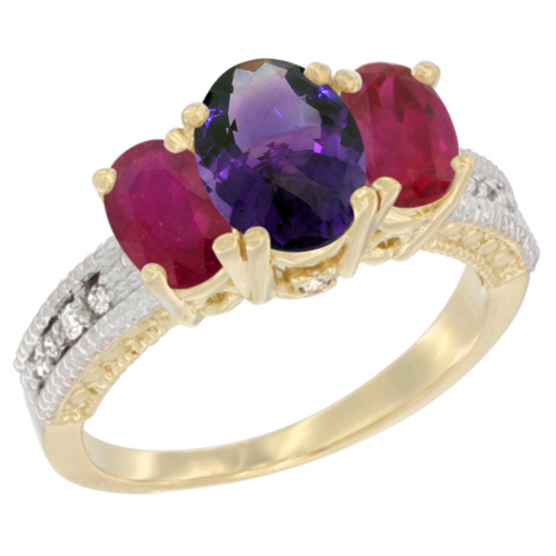 10K Yellow Gold Diamond Natural Amethyst Ring Oval 3-stone with Enhanced Ruby, sizes 5 - 10