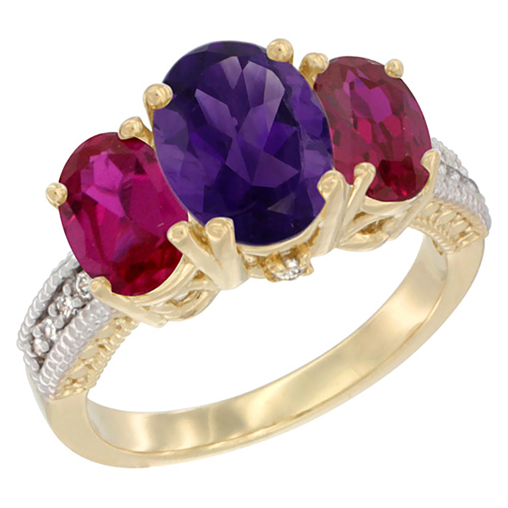 10K Yellow Gold Diamond Natural Amethyst Ring 3-Stone Oval 8x6mm with Ruby, sizes5-10