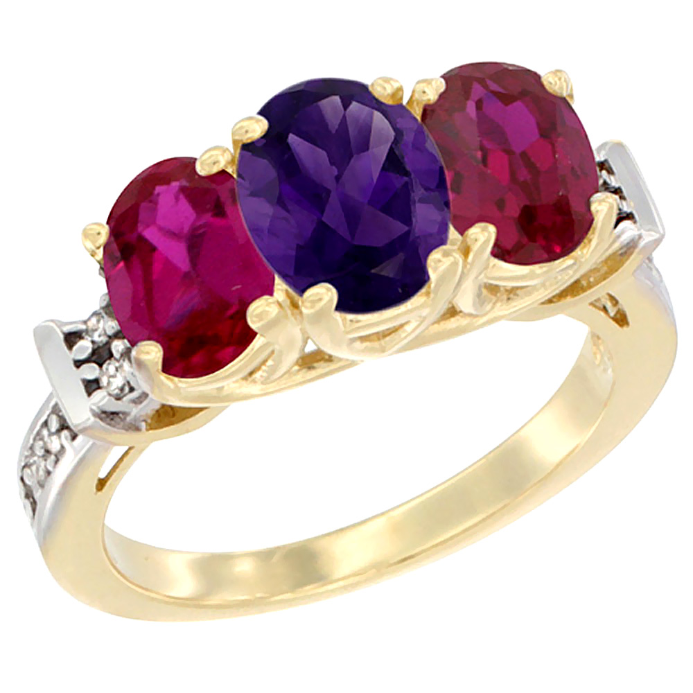 10K Yellow Gold Natural Amethyst & Enhanced Ruby Sides Ring 3-Stone Oval Diamond Accent, sizes 5 - 10