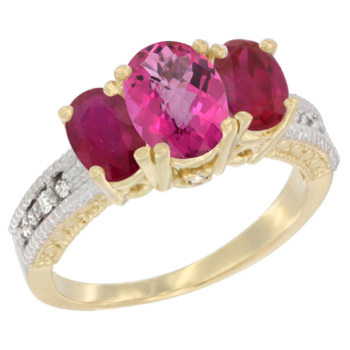 10K Yellow Gold Diamond Natural Pink Topaz Ring Oval 3-stone with Enhanced Ruby, sizes 5 - 10