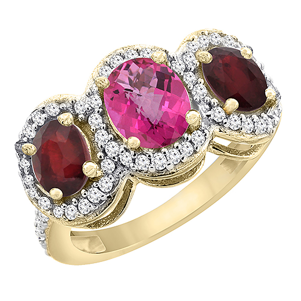 10K Yellow Gold Natural Pink Topaz & Enhanced Ruby 3-Stone Ring Oval Diamond Accent, sizes 5 - 10