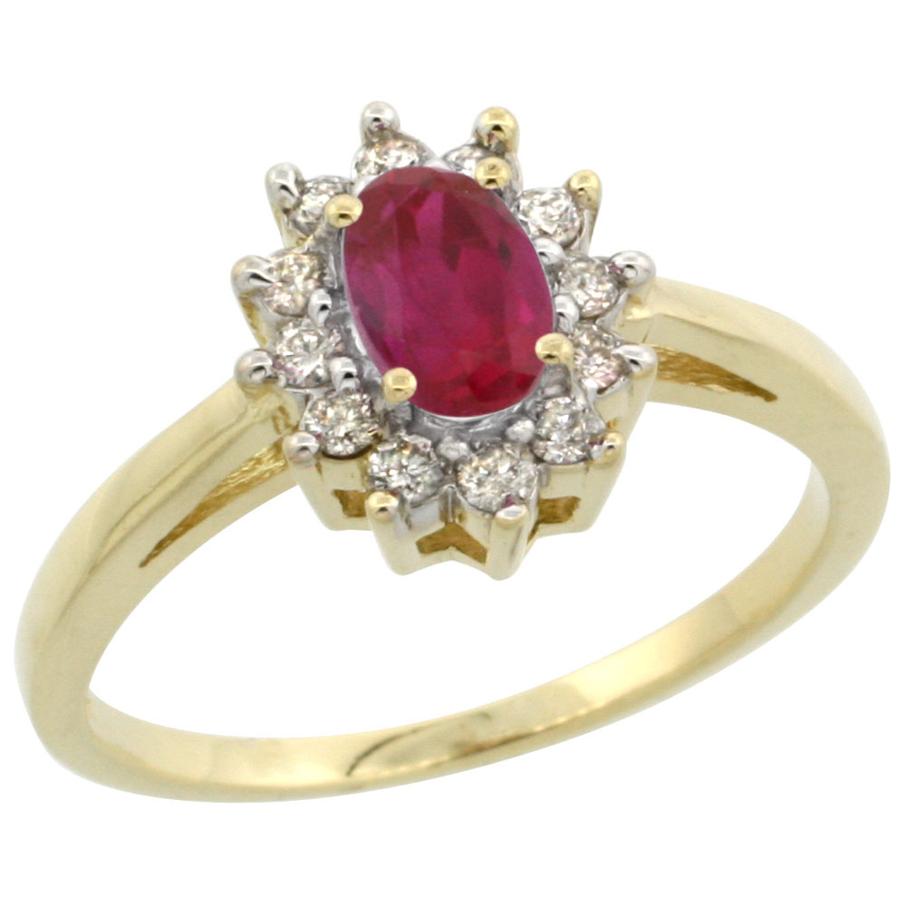 10K Yellow Gold Enhanced Genuine Ruby Flower Diamond Halo Ring Oval 6x4 mm, sizes 5 10