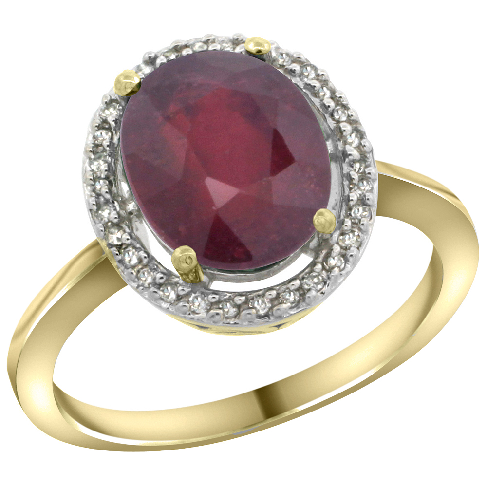 10K Yellow Gold Diamond Halo Enhanced Genuine Ruby Engagement Ring Oval 10x8 mm, sizes 5-10
