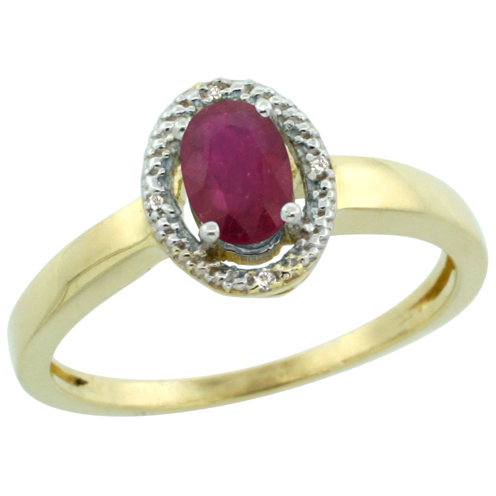 10K Yellow Gold Diamond Halo Enhanced Ruby Engagement Ring Oval 6X4 mm, sizes 5-10