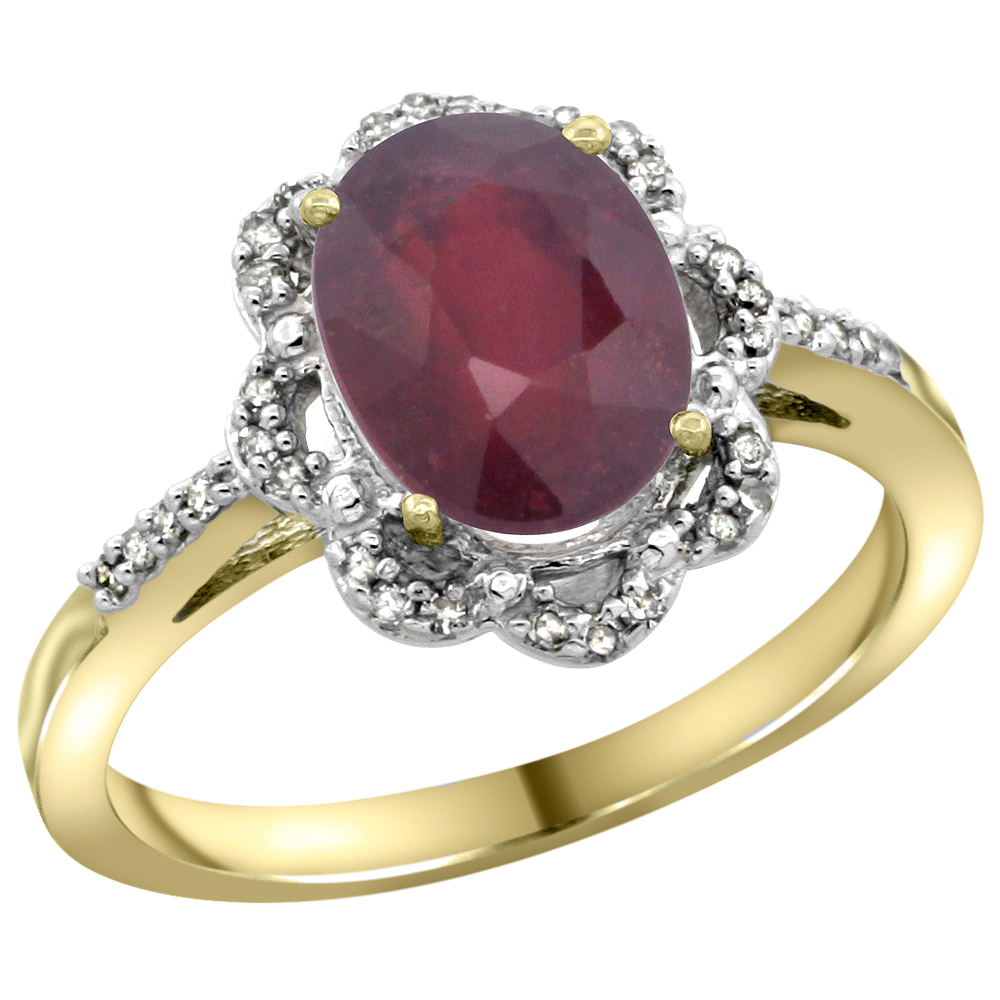14K Yellow Gold Diamond Halo Enhanced Ruby Engagement Ring Oval 9x7mm, sizes 5-10