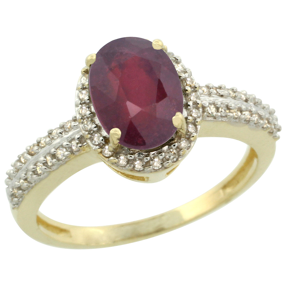 10k Yellow Gold Enhanced Ruby Ring Oval 8x6mm Diamond Halo, sizes 5-10