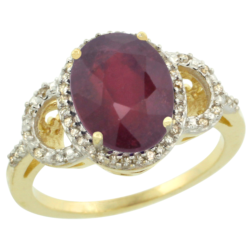 10K Yellow Gold Diamond Enhanced Genuine Ruby Engagement Ring Oval 10x8mm, sizes 5-10