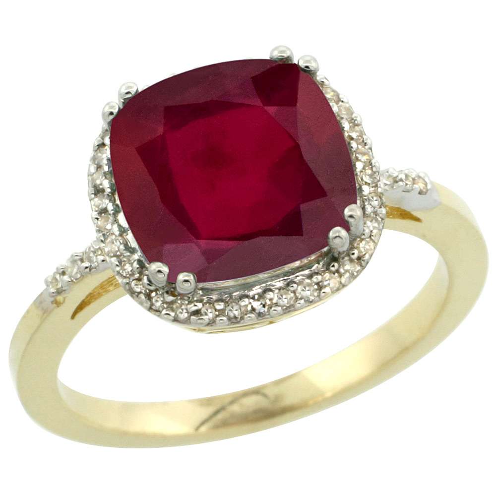 10K Yellow Gold Diamond and Enhanced Genuine Ruby Ring Cushion-cut 9x9mm, sizes 5-10