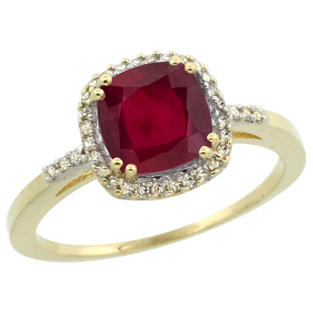 10K Yellow Gold Diamond Enhanced Genuine Ruby Ring Cushion-cut 7x7mm, sizes 5-10