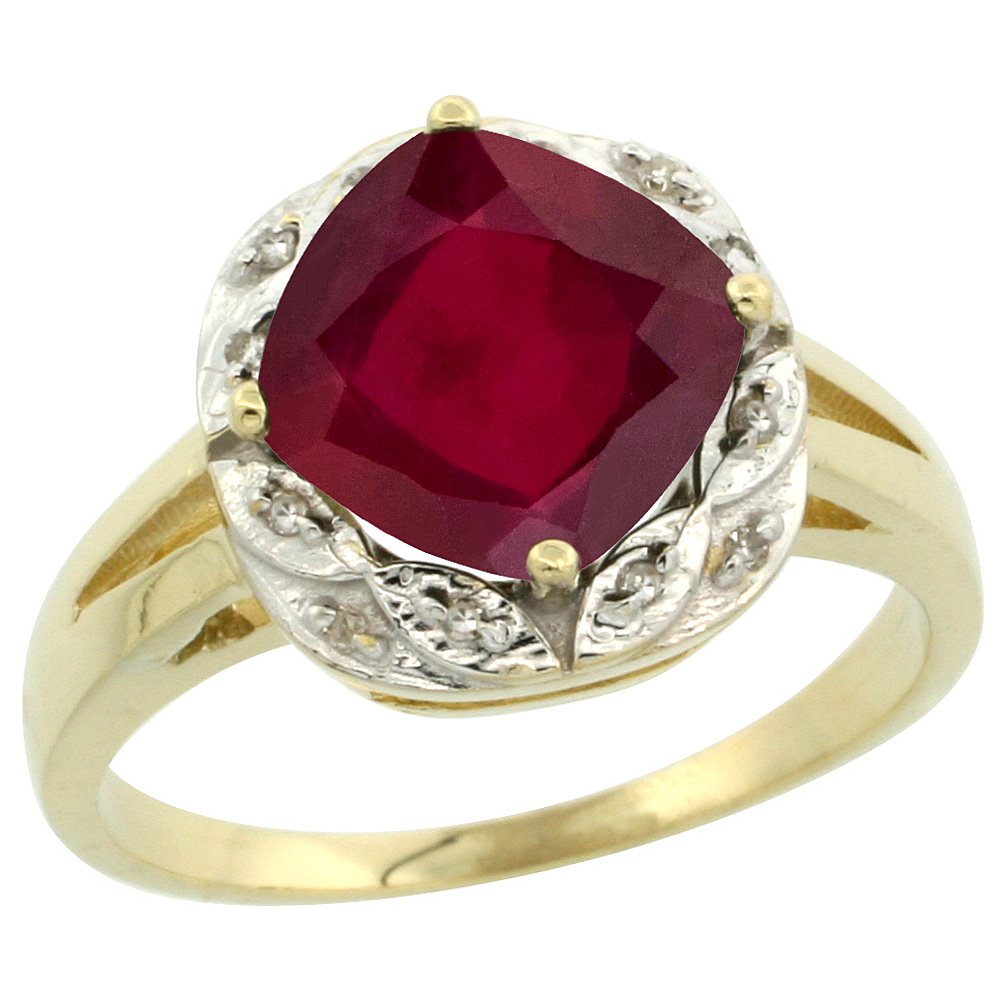 14K Yellow Gold Diamond and Enhanced Genuine Ruby Ring Cushion-cut 8x8mm, sizes 5-10