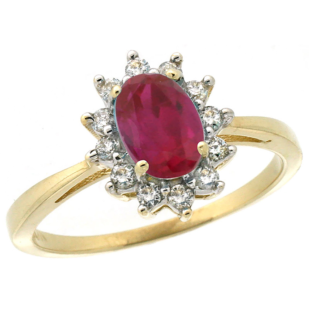 10k Yellow Gold Enhanced Genuine Ruby Engagement Ring Oval 7x5mm Diamond Halo, sizes 5-10