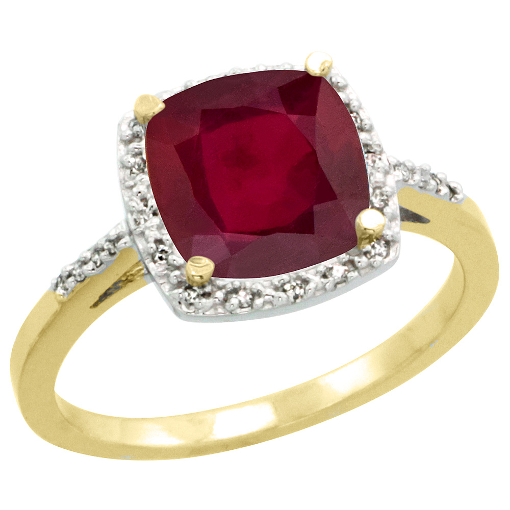 14K Yellow Gold Diamond Enhanced Genuine Ruby Ring Cushion-cut 8x8 mm, sizes 5-10