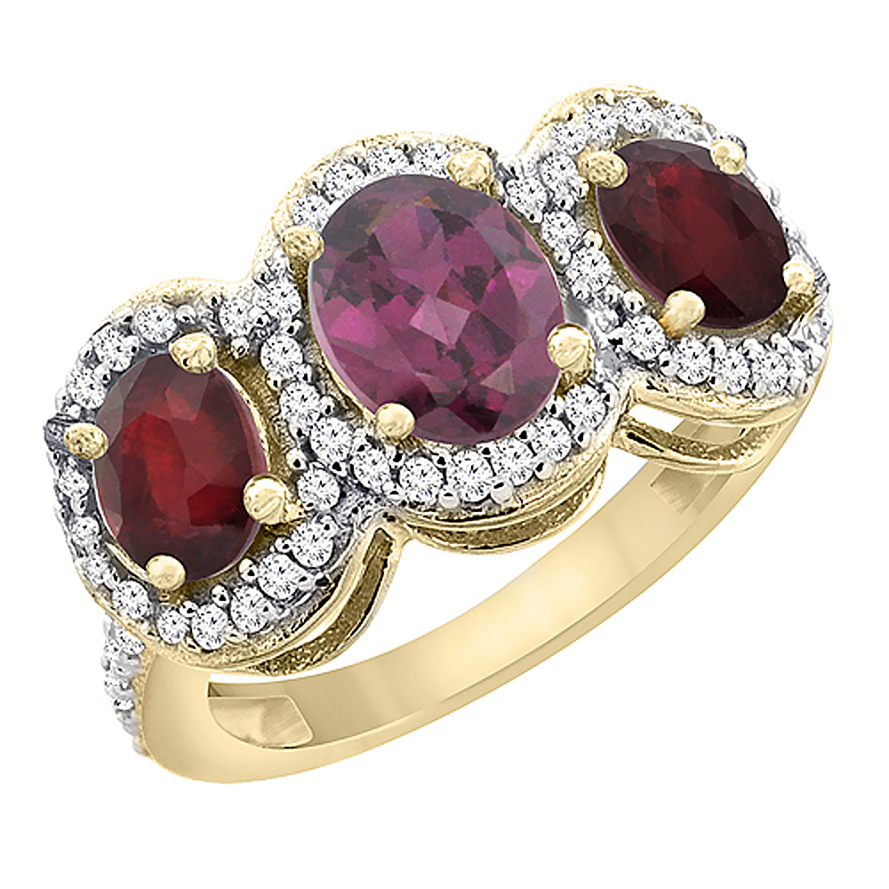 10K Yellow Gold Natural Rhodolite & Enhanced Ruby 3-Stone Ring Oval Diamond Accent, sizes 5 - 10